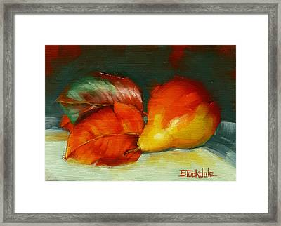 Framed Print featuring the painting Autumn Pear Leaves And Fruit by Margaret Stockdale