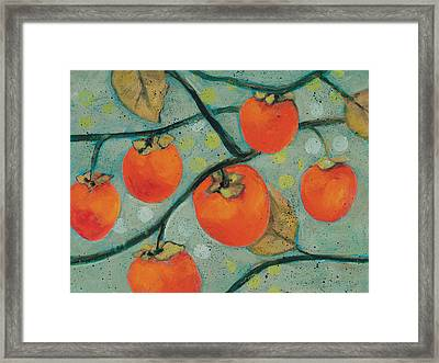 Autumn Persimmons Framed Print by Jen Norton