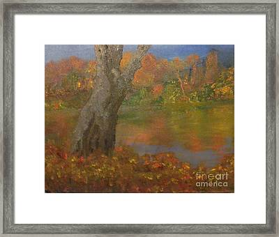 Framed Print featuring the painting Autumn Pond by Holly Martinson