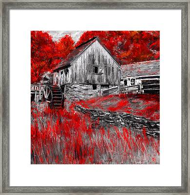 Autumn Promise- Red And Gray Art Framed Print by Lourry Legarde