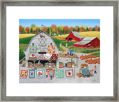 Autumn Quilts Framed Print by Wilfrido Limvalencia