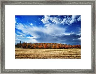Framed Print featuring the photograph Autumn Rain Over Door County by Mark David Zahn