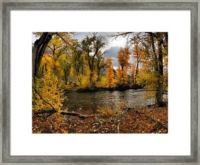 Autumn River Light Framed Print by Leland D Howard