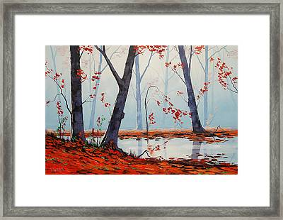 Autumn River Painting Framed Print by Graham Gercken