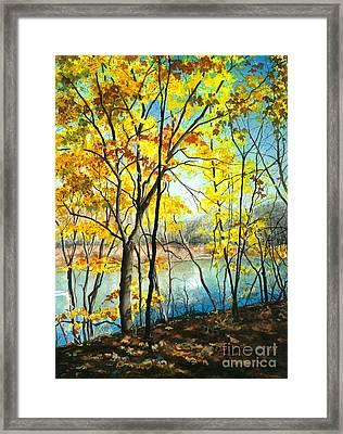 Autumn River Walk Framed Print
