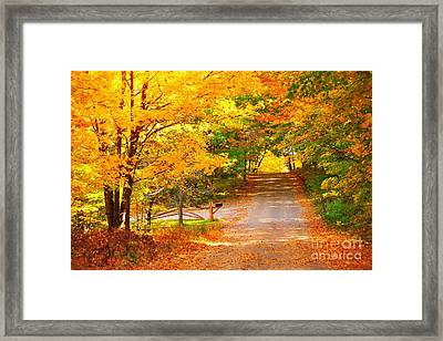 Autumn Road Home Framed Print