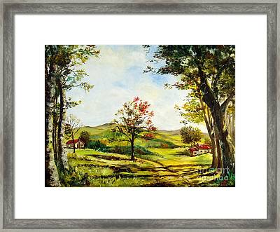 Framed Print featuring the painting Autumn Road by Lee Piper