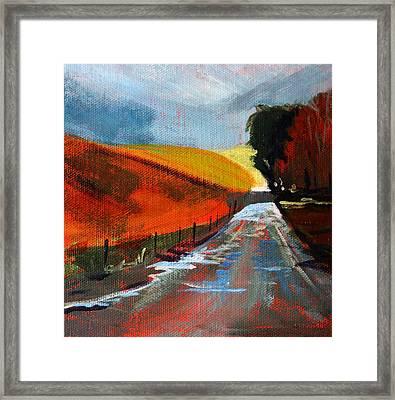 Autumn Road Framed Print by Nancy Merkle