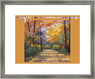 Autumn Road Tapestry Look Framed Print by Diane Romanello