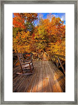 Autumn Rocking On Wooden Bridge Landscape Print Framed Print