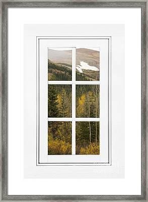 Autumn Rocky Mountain Glacier View Through A White Window Frame  Framed Print