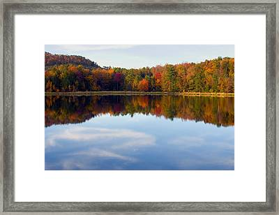 Autumn Shoreline Reflection Framed Print by Gene Walls