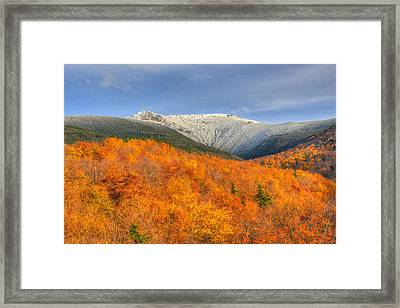 Autumn Snow On Mount Lafayette Framed Print