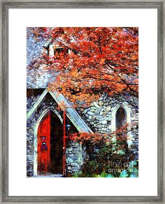 Autumn Stone Church Framed Print