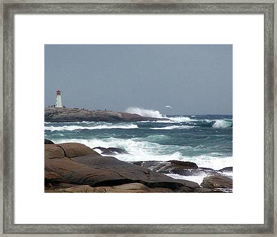 Autumn Storm At Peggy's Cove Framed Print by Janet Ashworth