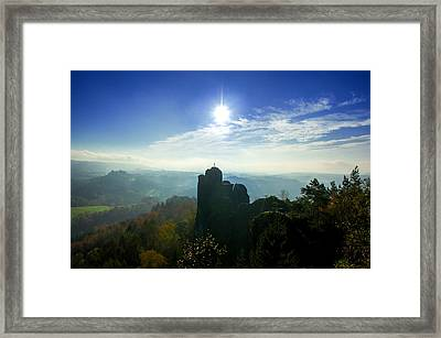 Autumn Sunrise In The Elbe Sandstone Mountains Framed Print