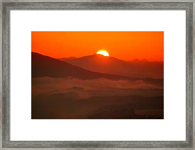 Autumn Sunrise On The Lilienstein Framed Print