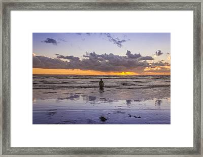 Autumn Sunset At Crosby Beach Framed Print by Paul Madden