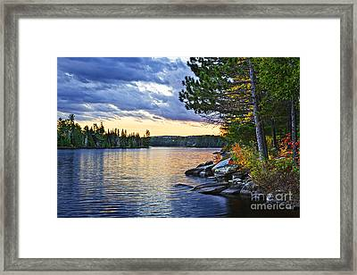 Autumn Sunset At Lake Framed Print by Elena Elisseeva