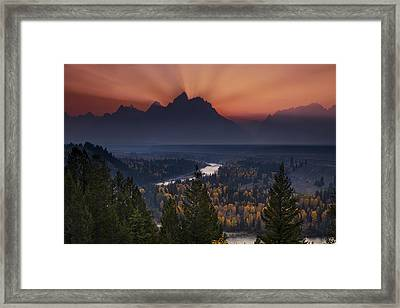 Autumn Sunset At The Snake River Overlook Framed Print by Andrew Soundarajan