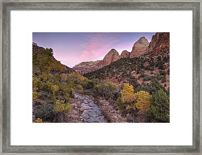 Autumn Sunset In Zion Framed Print