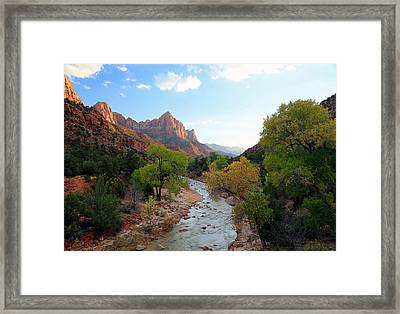 Autumn Sunset In Zion. Framed Print