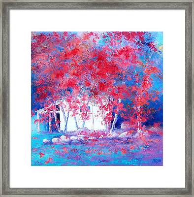 Red Autumn Trees By Jan Matson Framed Print by Jan Matson