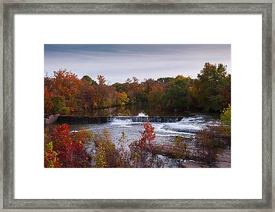 Framed Print featuring the photograph Refreshing Waterfalls Autumn Trees On The Stones River Tennessee by Jerry Cowart