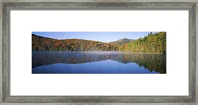 Autumn Trees Reflected In Heart Lake Framed Print