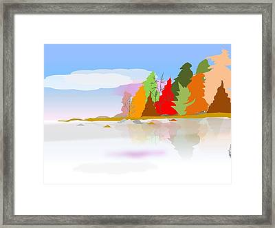 Autumn View On The Lake Framed Print