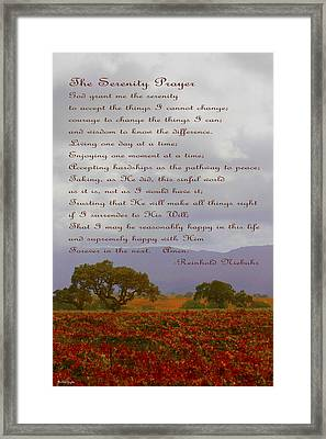 Autumn Vineyard The Serenity Prayer Framed Print by Barbara Snyder