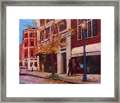 Autumn Walk Downtown Framed Print by Vernon Reinike