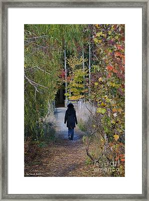 Framed Print featuring the photograph Autumn Walk by Tannis  Baldwin