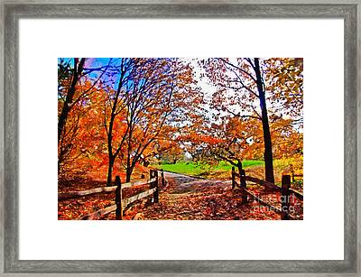 Autumn Walkway Framed Print by Nishanth Gopinathan