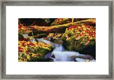 Autumn Waterfall Canvas Framed Print by Dan Sproul