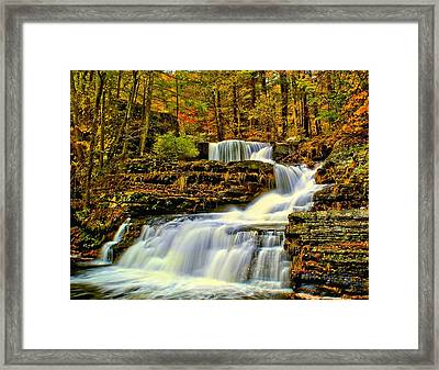 Autumn By The Waterfall Framed Print by Nick Zelinsky