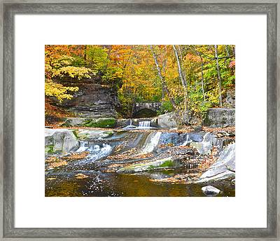 Autumn Waterfall Framed Print by Frozen in Time Fine Art Photography