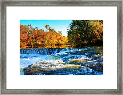 Amazing Autumn Flowing Waterfalls On The River  Framed Print
