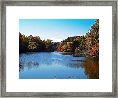 Autumn Waterway Framed Print by Aimee L Maher Photography and Art Visit ALMGallerydotcom
