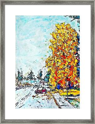 Autumn Wharf Avenue Framed Print