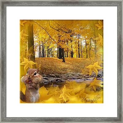 Framed Print featuring the digital art Autumn With A Squirrel - Autumn Art By Giada Rossi by Giada Rossi