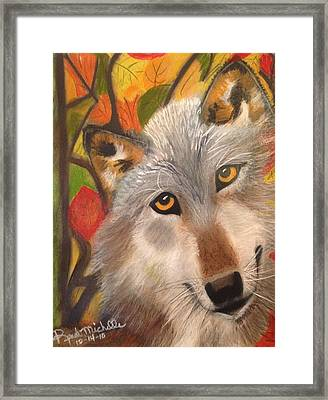 Autumn Wolf Framed Print by Renee Michelle Wenker