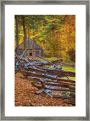 Autumn Wooden Fence Framed Print