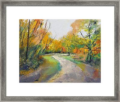Autumn Woodland Path Framed Print