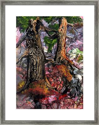 Framed Print featuring the painting Autumn Woods by Sherry Shipley