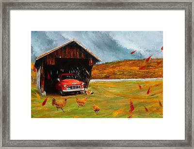 Autumnal Restful View-farm Scene Paintings Framed Print