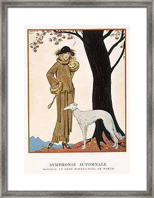 Autumnal Symphony Afternoon Coat And Dress By Worth Framed Print by Georges Barbier