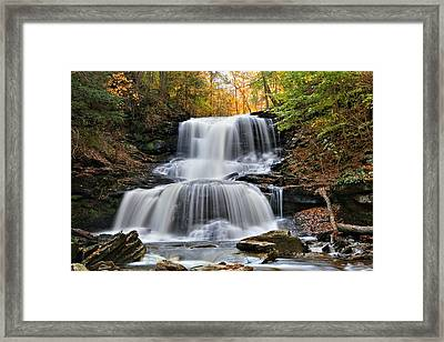 Autumn's Magical Spell On Tuscarora Falls Framed Print by Gene Walls