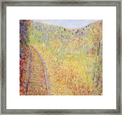Autumns Maple Leaves And Train Tracks Framed Print