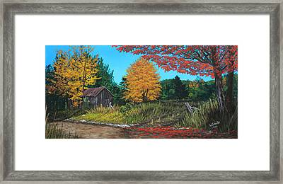 Framed Print featuring the painting Autumns Rustic Path by Wendy Shoults